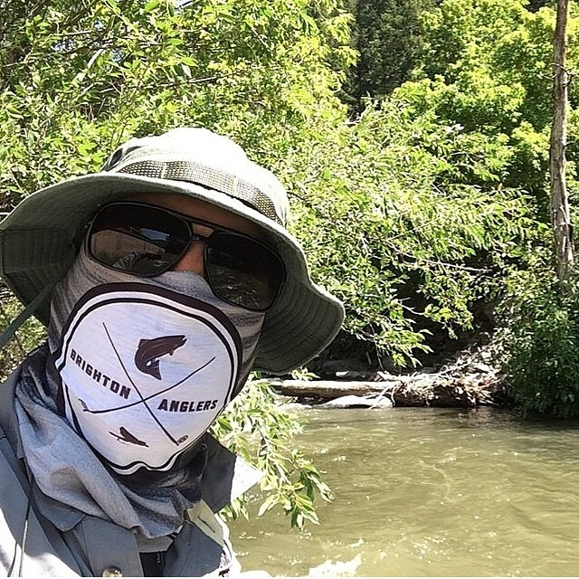 @thedyeronsnow rockin the new @brightonanglers Co.Lab Tshield whilst out chasing wiley trout. Hit us us if you need a custom design for your crew, we specialize in limited runs! #avalon7 #liveactivated #flyfishing #tshield www.avalon7.co