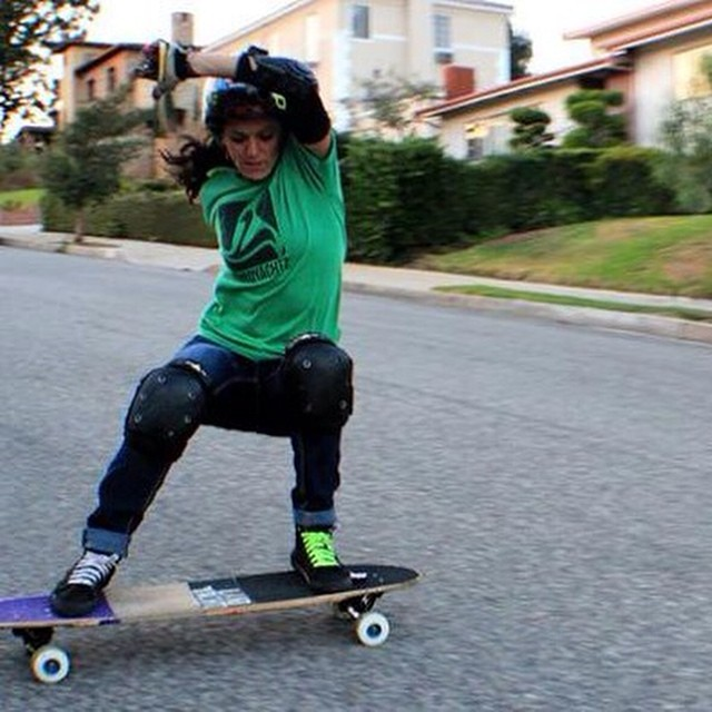 @pandaskate shredding some gnar. James Luttinger photo.  YES Amanda! #LongboardGirlsCrew #girlswhoshred
