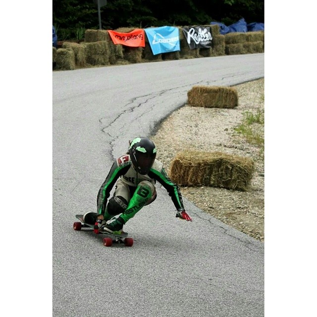 Team rider @charlesouimet taking the last left hairpin after a 65mph footbrake at #dhthrowdown this weekend!