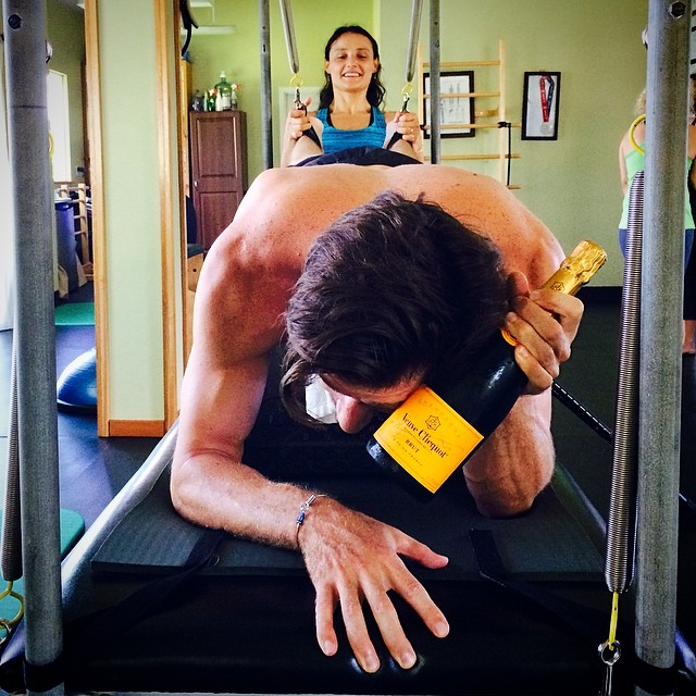Post hurricane #HeatWave here on #Maui - doing what ever it takes to keep my core temps in range during a @cotapilates #NeuroKineticPilates SCI workout.  A lil' ice cold @VeuveClicquot on my forehead and the game is on!!! @shawnakorgan |...