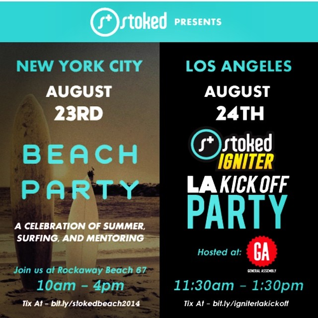 We have some excited events coming up in NYC & Los Angeles! NYC get your ticket to our beach BBQ with surfing and yoga: Bit.ly/stokedbeach2014  Los Angeles don't miss out on a kick off to celebrate our Igniters: Bit.ly/laigniterkickoff  #nyc...