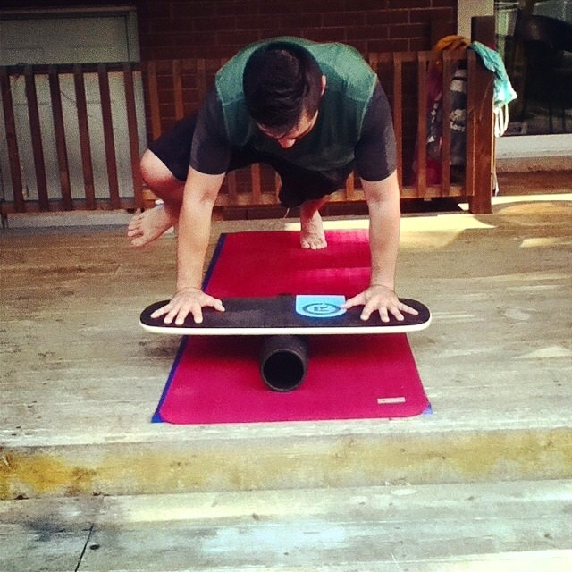 @ndeslippe getting in a little core training on the 101 #balanceboard