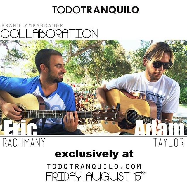 Make sure to visit www.todotranquilo.com this coming Friday, August 15th for the release of our brand ambassador collaboration video. Eric of Rebelution & Adam of Iration swap stories and jam a Bob Marley tune for you. @ericrebelution @rebelutionmusic...