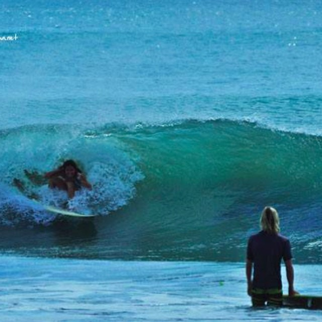 #tbt to the best day of my life, naturally.  It may be tiny, but I'm counting it.  Good thing I compact easily.  #tinytube #tubecity #sopitted #surf #surfbikini #bikini #nicaragua #sannyfranny #california