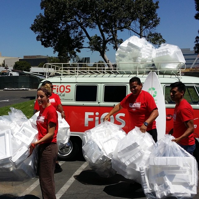 Cool new sponsor for Waste to Waves... Verizon FIOS. Technology companies love recycling options for styrofoam. @fiossocal