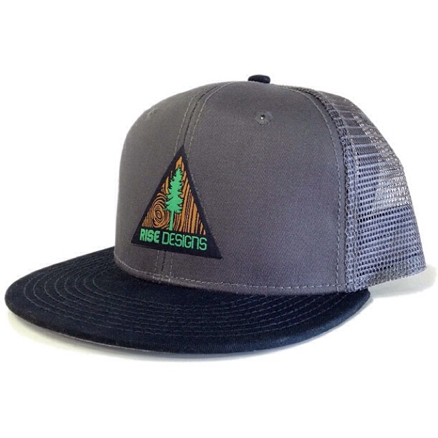 Introducing the new Tree Triangle Hat - High quality  mesh back hat - charcoal w/ black brim. Woven patch on the front. #snapback #truckerhat #risedesigns
