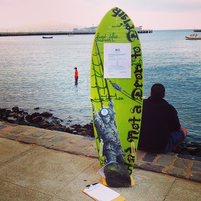 We are standing with with our performance buddy, Sarah Cameron Sunde, in the chilly waters of SF Bay today, who is almost at the end of her 13+ hour long salt water soliloquy, to raise awareness about our rapidly rising  sea levels !  See our Facebook...