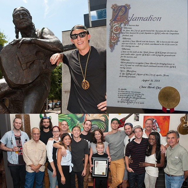 "Today, Aug. 16, 2014 is ""@Chase_Hawk Day"" in Austin, Texas. (Photos via @sandy_carson)"