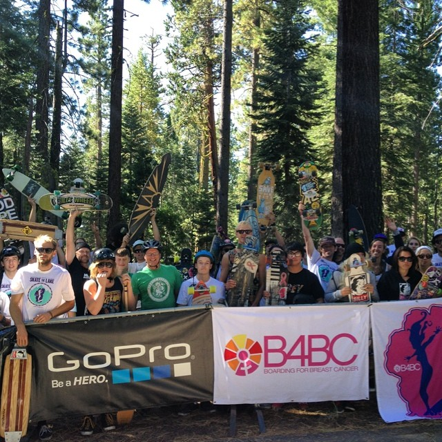 Look at all these rad people about to skate 28 miles around Lake Tahoe to support breast cancer prevention @b4bc #skatethelake #laketahoe #skateboarding #sk8 #longboarding #skatelife #mountainlife #goodpeople #gobigdogood
