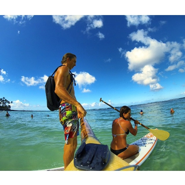 Better together. Sometimes challenging it can bring out your best! #gobig or #gopro either way fun is where it's at. #supcouple #paddlehawaii