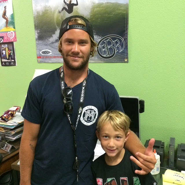 Look who stopped by BBR Surfwear and Cordell Surfboards headquarters. 1 clue, he's next to Benjamin. Yup!  It's Pro Surfer, Granger Larsen. #bbr #bbrsurf #buccaneerboardriders #cordellsurfboards  #grangerlarsen
