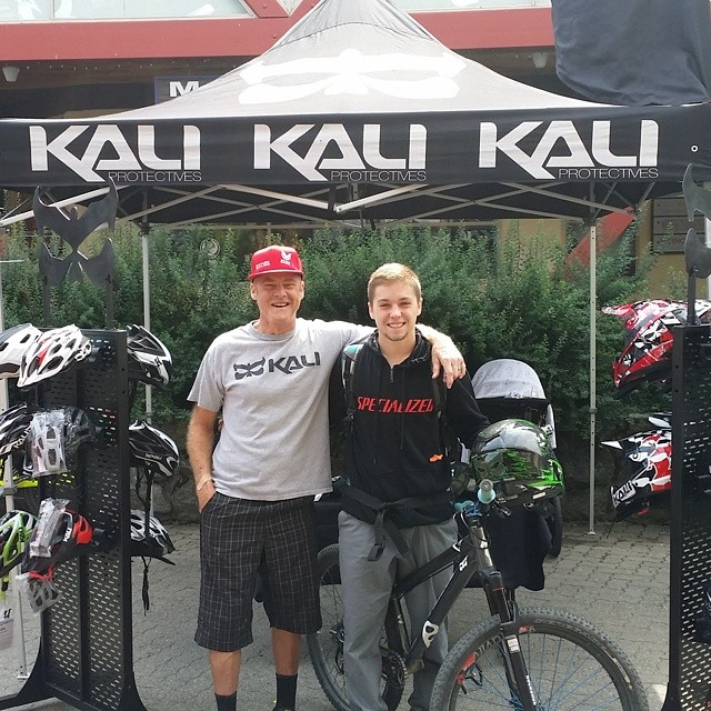 Kali riders @rideblindracing and @nicholirogatkin here at Crankworx hanging at the Kali booth.  Tune in live to see Nicholi and Antoine Bizet compete today at joyride.