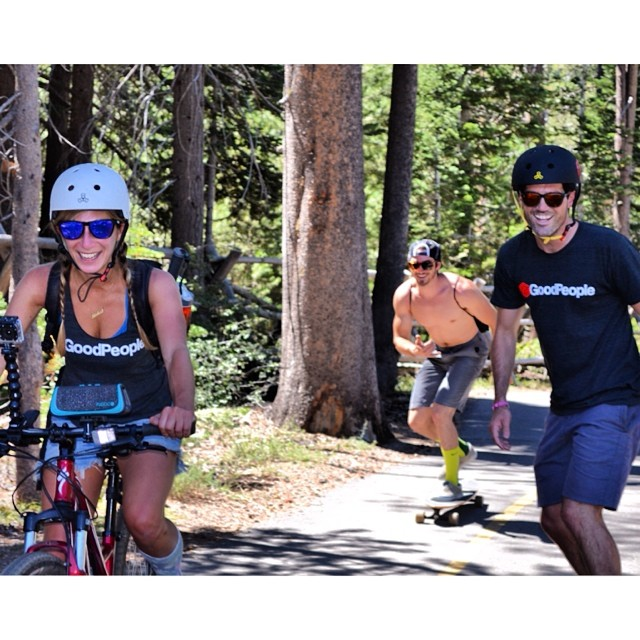 Good @fugoolife jams with @Goodpeoplelife at B4BC's 28-mile Skate The Lake board-a-thon today!! #skatethelake #laketahoe #behealthygetactive