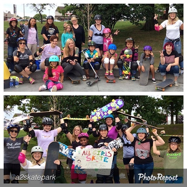 Great turnout for the All Girls Skate event at Ann Arbor Skatepark (@a2skatepark). #Michigan represent!