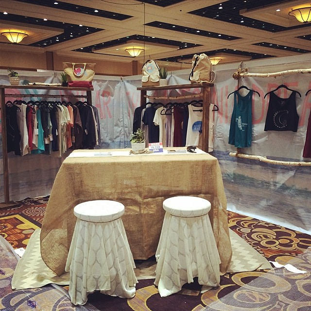 We are all set up for #MAGIC #POOLTRADESHOW Booth #1143 #spreadtheluv #luvsurfapparel #LasVegas
