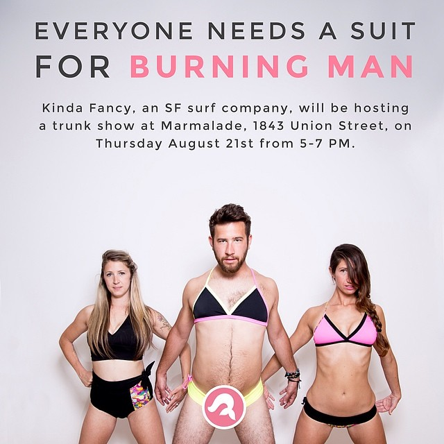 Trunk Show at Marmalade SF this Thursday 5-7.  Come get your #bikini for #burningman #cocktails #surf #mankini #sanfrancisco #cowhollow #marmaladesf