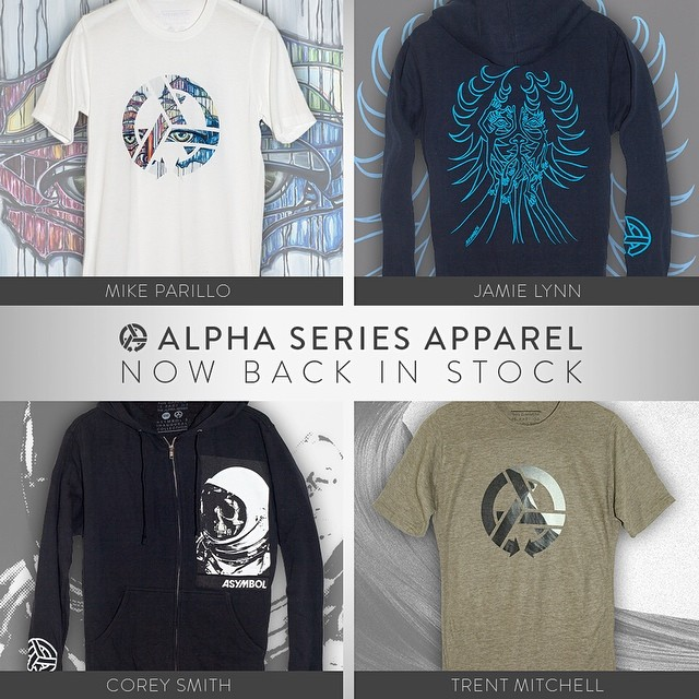 Wearable art by @mikeparillo @jamiemlynn @coreysmithsimulacrum and @trentmitchellphoto is back in stock. Head over to Asymbol.co for yours. #alphaseries #wearyourart