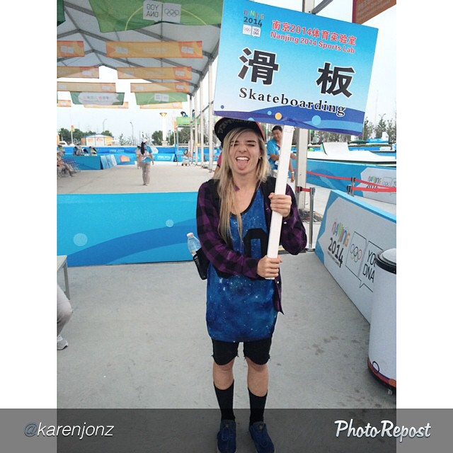 Thank you to @karenjonz for repping #skateboarding at the #YouthOlympicGames in China!