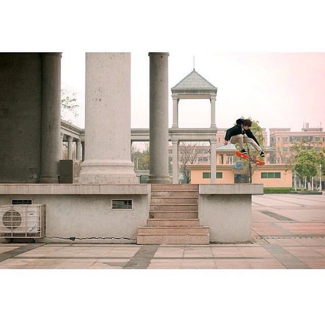 @danielespinozuh kickflipping in China