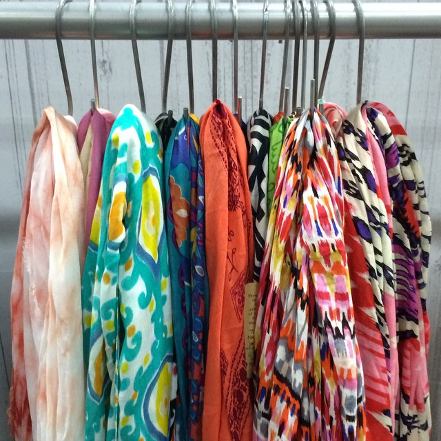 Spring scarves hanging around. #spring2015 #ss15 @projectshow #lasvegas #magic #spring #summer #style #eco #sustainable #sneakpeek #bts