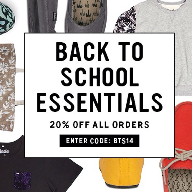 Cure your end of the summer blues with some back to school essentials. Get 20% off your order when you enter the code: BTS14 #indosole #soleswithsoul #backtoschool