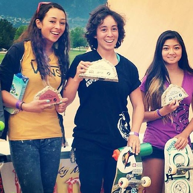 #RockyMountainRampage is coming up this weekend in Colorado Springs. Go to facebook.com/exposureskate for more info, including details on the live webcast.  Pictured is the 2013 Women's Pro Vert podium: 1. Gaby Ponce 2. Allysha Bergado 3. Lizzie Armanto
