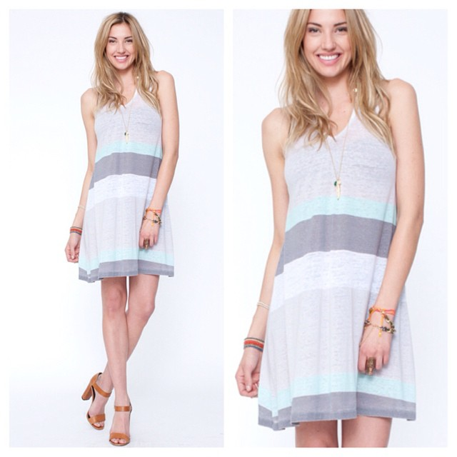 Savor the last drops of #summer in this sweet little #stripe dress. #summerstyle #2014 #beach #fashion #outfit #inspo #welove #love #liveinit