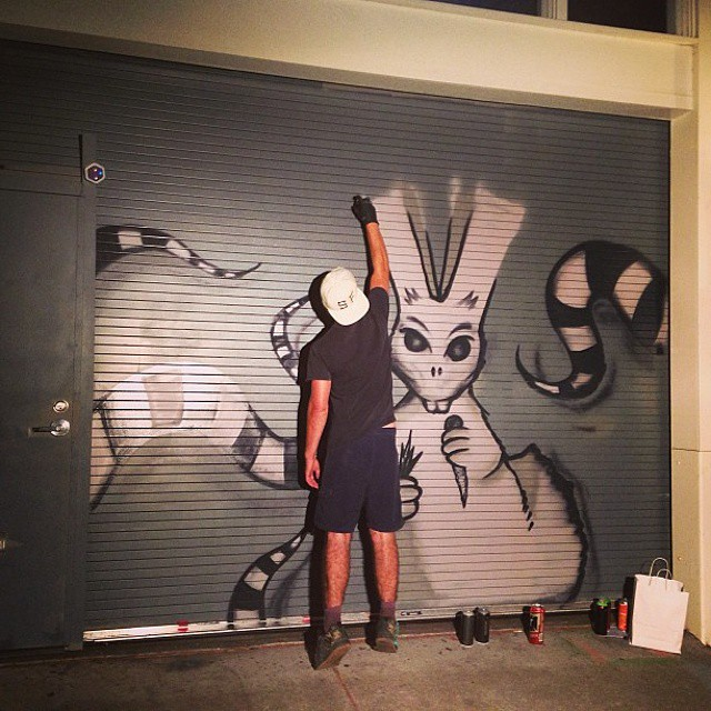 Work in progress #tbt #evilbunny #garage #office #throwback #artwork