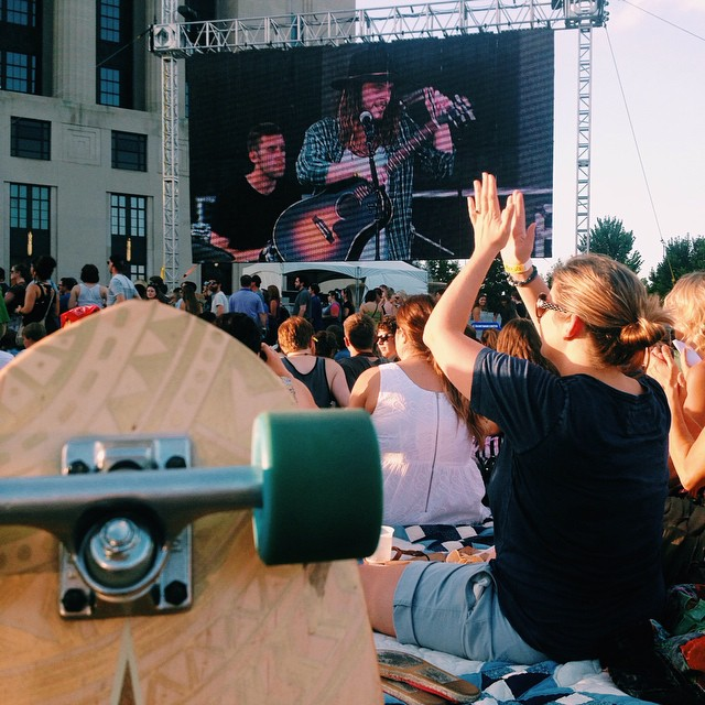 At live on the green. Pretty pumped for Wild Cub to play next! #handmade #skateboards #nashville