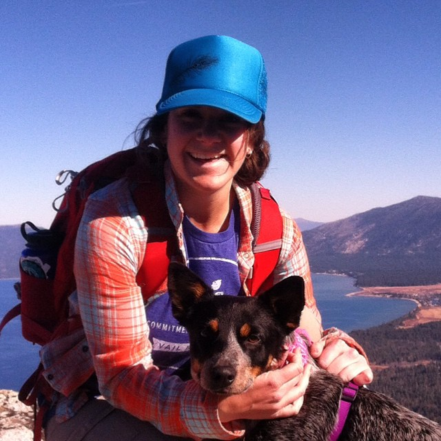Hey it's our friend @mountainmargo and her pup Sadie rocking her @risedesigns hat and taking in the views of #LakeTahoe // Check out local #Tahoe brand #RiseDesigns in our marketplace #buylocal #smallbiz #goodpeople #gobigdogood #outdooradventures...
