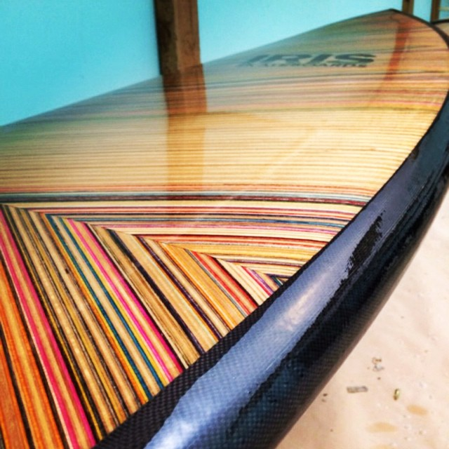 "So stoked on this @iris_surfboards 5'7"" x 19 5/8"" x 2 1/2 !! @loggerkl @stretchboards #recycledsurfboard #recycledskateboards #irissufboards #irisskateboards"