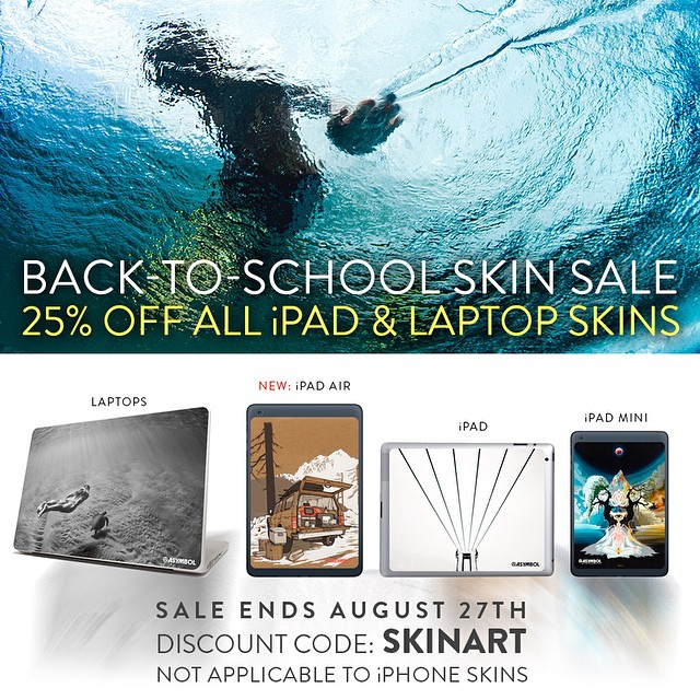 Back to School Skin Sale is On. 25% off all @asymbol iPad and Laptop skins til August 27th. Use code SKINART at checkout. www.asymbol.co (iPhone skins not included)