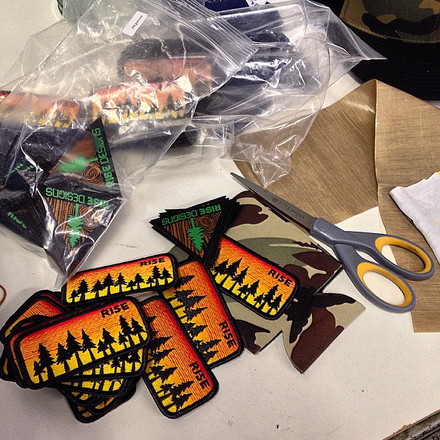 Making some hats. #risedesigns #riseshop #patches #natureinspired