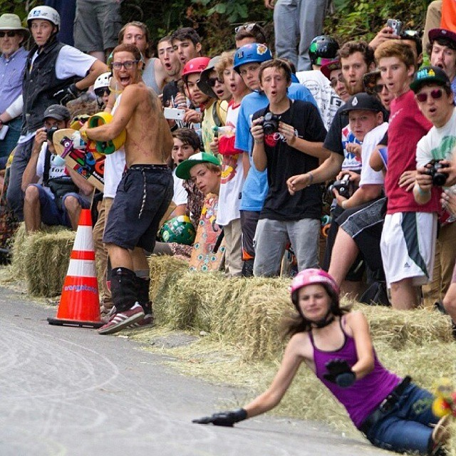 Go to www.longboardgirlscrew.com and check Micaela Wilson's during the longest slide in Central Mass Longboard Festival las t weekend.  Priceless audience reaction. Skate safe! Regram @robceilliams. #ouch #longboardgirlscrew #girlswhoshred