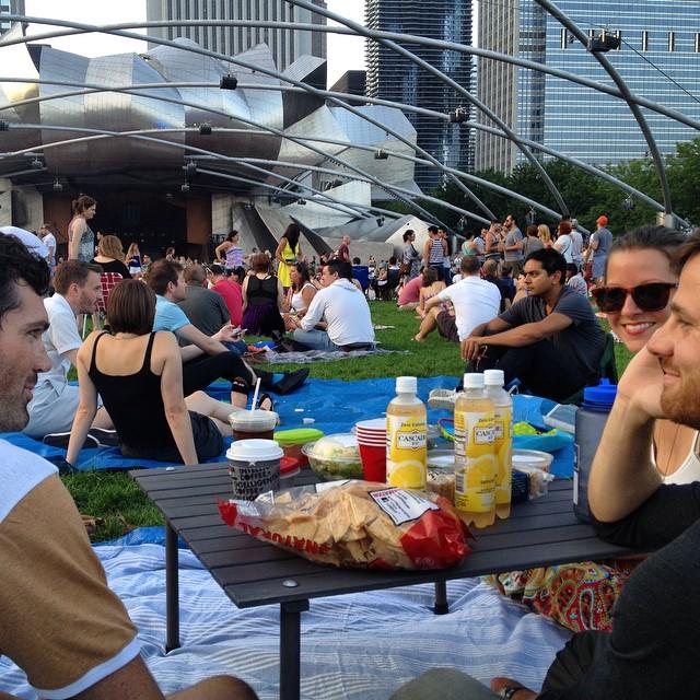 Ferris Bueller Day continues @mcelberts @iskelbs @j_prete #milleniumpark #chicago #robyn #partyinthepark #lawnseats #picnicelevated #summer #concert #sundayfunday