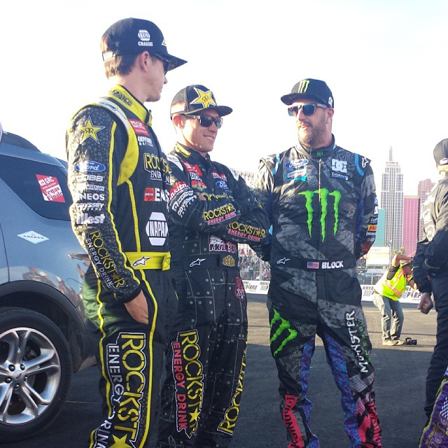 Three amigos for now. Tanner Foust, left, Brian Deegan, center, and Ken Block chat right before the racing gets started in #Vegas for the #GRC season finale. Broadcast starts at 7 p.m. ET on ESPN.