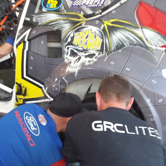 Brian Deegan got taken out with a broken rear wheel in his heat race at #GRC finale. His team is working on it. Think he will make it back for the finals?