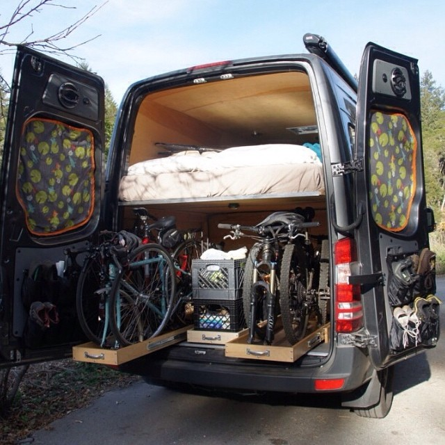 When saving space gets tough, store your bikes in drawers and your blankets in stuff sacks. #vanlife #adventuremobile #biking #camping #carcamping #roadwarrior #weekend