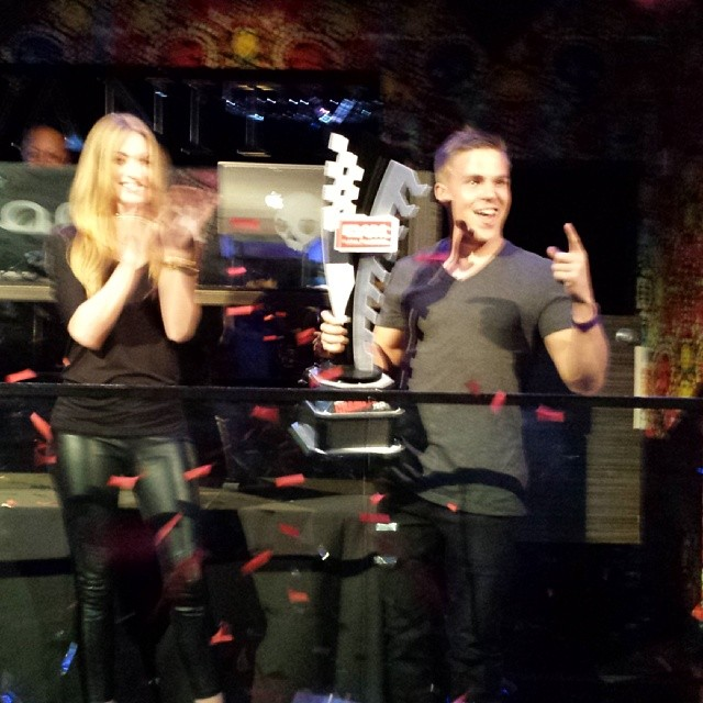 Picking up the hardware at #GRC post race party. 2013 season points champ Toomas Heikkinen.