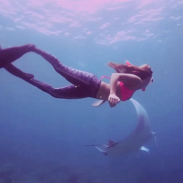 @alisonsadventures #playing with the #manta #rays in the #maldives, only a few days into her trip and already finding #magic! -- she wear her #alisonsadventures #boho #surf top in #akala and #teeki #tights. #sarahleephoto #explore #create your own...