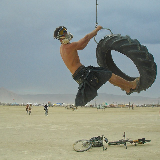 During many hard fought #SCIRecovery therapy sessions, my mind has been focused on the goal of dancing once again at Burning Man...This photo is from 2007 & right now I am 30 minutes from the gate of this dream! #inbound | @rootsociety...