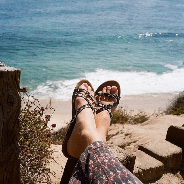 Coming soon to our 2015 line... The biku sandal!! @annaehrgott enjoying the beautiful Southern California coastal views || #thisisbalifornia #blackpalmbiku #soleswithsoul #goodhumancrew #sagebrushbags