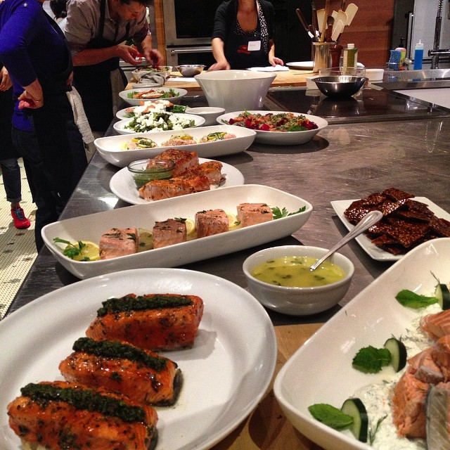 The final products - mine is in the front caramelized salmon with salsa verde #sfcookingschool #sanfrancisco #buffet #foodie #nomnomnom #salmon #cheftobe  #cookbookinthemaking #cooking