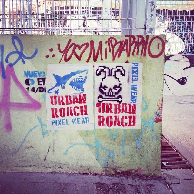 Shark & skull #streetart #palermo #stencil #poster #shark #pixel #pixelart #pasteup #bunny #skull #urbanroach #urbanart #spray #aerosol