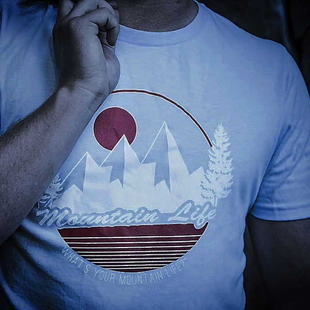 "#TravelThursday Limited Edition #MountainLife ice blue tee #flashsale ""What's Your #MountainLife?"" #travelgram #backcountry #bouldering #basejumping #camping #cycling #climbing #flyfishing #gowhereyoudontbelong #hiking #kayaking #mountainlifecompany..."