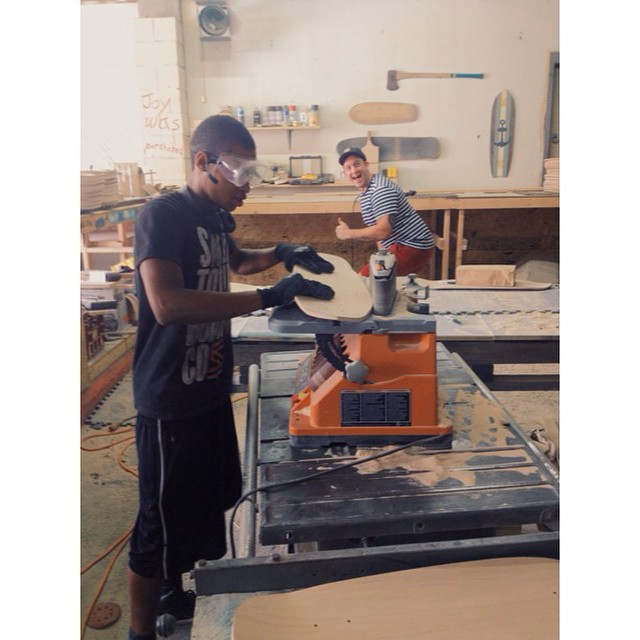 Kendrius in the shop learning how to shape boards today. We are really busy this week and next! #handmade #skateboards #nashville #skateboarding