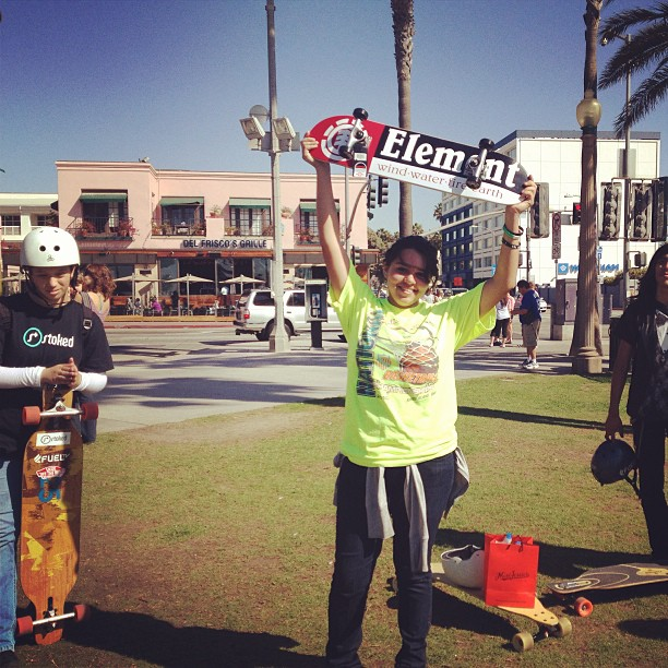 Stoked LA Skate Mentor 1! We asked the Stoked youth to submit an essay about what they learned from our Stoked to Serve Coastal Cleanup. Herlinda submitted an awesome essay and won this #element skate deck!  #stoked4life #alwayslearning #stokedneverstops
