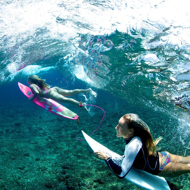 "After years of ""I will come visit you in the Maldives one day"" it's fun to finally meet ripper-shredders & photographers @amy_kotch & @richard_kotch with @worldsurfaris  Richard captured this one of Amy and I double ducking a glassy nugget! #girlpower..."