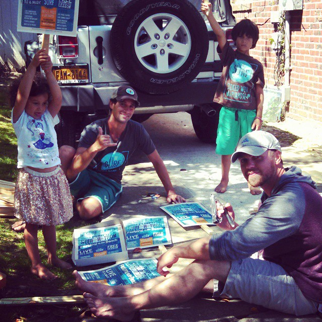 Working hard !. Don't forget to come out to the ReSurf Surf-A-Thon this Sunday . Find out more at www.resurfproject.org