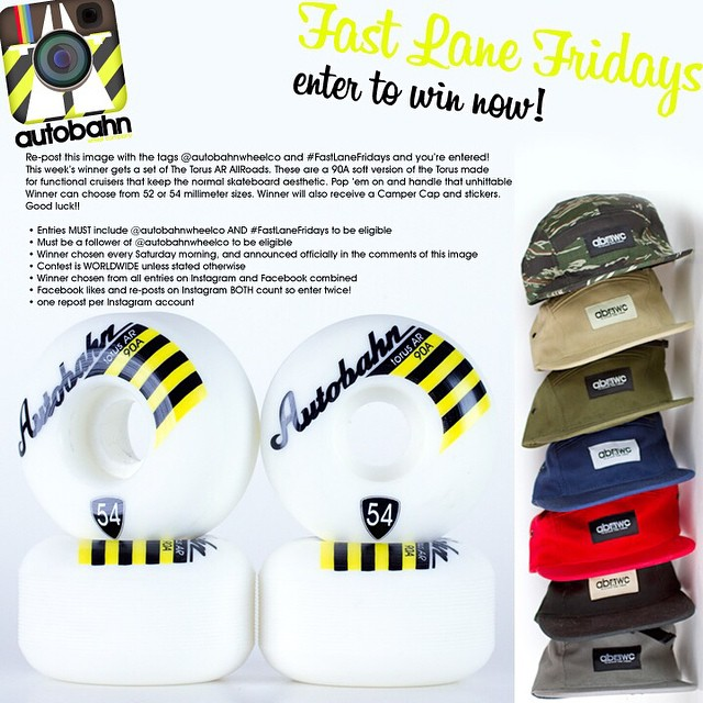 Re-post this image with the tags @autobahnwheelco and #FastLaneFridays and you're entered! This week's winner gets a set of The Torus AR AllRoads. These are a 90A soft version of the Torus made for functional cruisers that keep the normal skateboard...